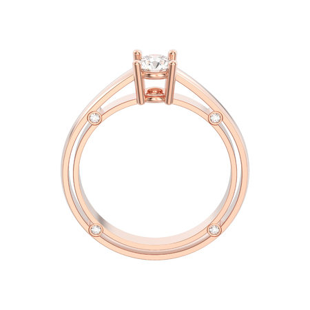 3D illustration isolated rose gold decorative solitaire engagement diamond ring on a white background