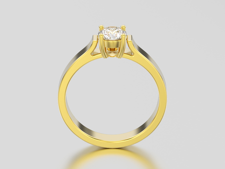 3D illustration yellow gold solitaire engagement diamond ring with shadow and reflection on a grey background
