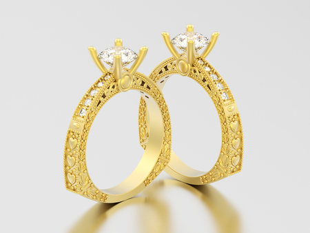 3D illustration two yellow gold decorative diamond rings with ornament and hearts on a grey background