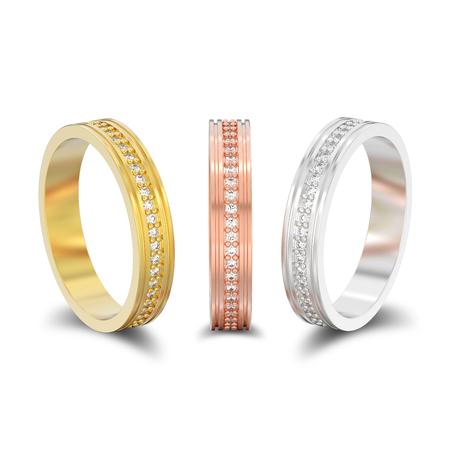 mode designer 97309 549ef Illustration 3D isolé trois rose, or jaune et blanc ou bague de fiançailles  en argent mariage bagues de diamant avec ombre sur un fond blanc