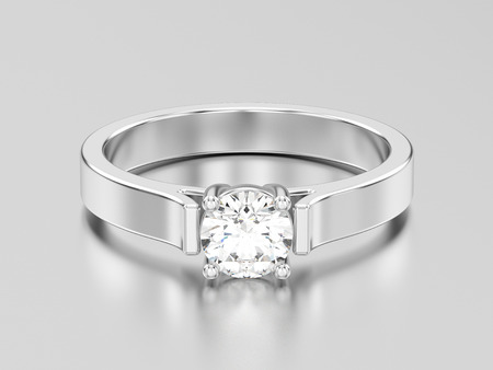 3D illustration white gold or silver solitaire engagement diamond ring with shadow and reflection on a grey background Stock Photo