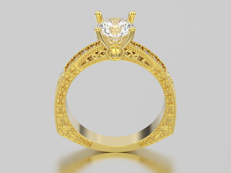 3D illustration yellow gold decorative diamond ring with ornament and hearts on a grey background