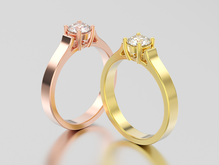 3D illustration two yellow and rose gold solitaire engagement diamond rings with shadow and reflection on a grey background Stock Photo