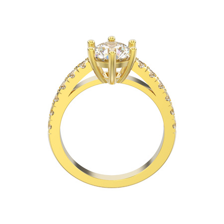 3D illustration isolated yellow gold solitaire engagement diamond ring on a white background