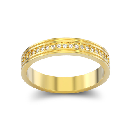 3D illustration isolated yellow gold engagement wedding band diamond ring with shadow on a white background Stock Photo