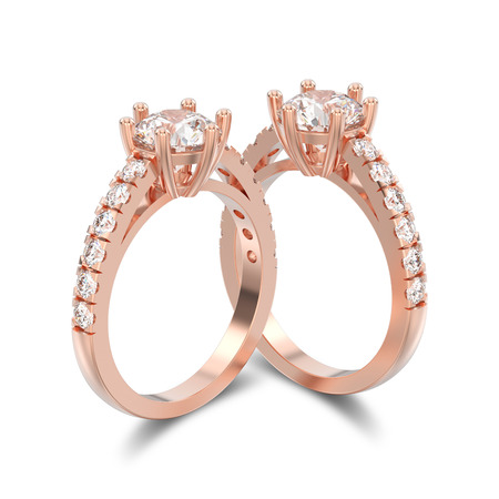 platinum: 3D illustration two isolated rose gold solitaire engagement diamond rings with shadow on a white background