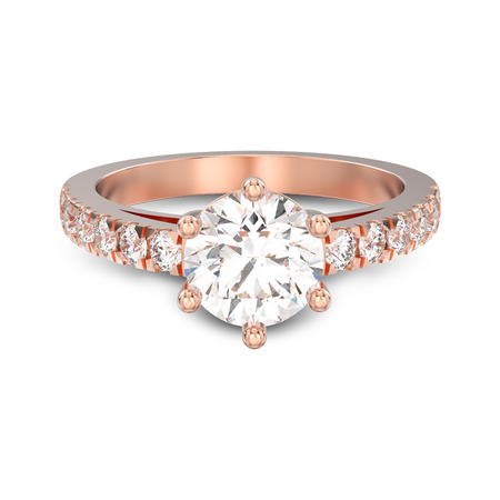 3D illustration isolated rose gold solitaire engagement diamond ring with shadow on a white background