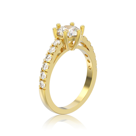 3D illustration isolated yellow gold solitaire engagement diamond ring with reflection on a white background Stock Photo