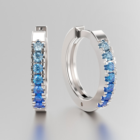 3D illustration white gold or silver decorative earrings hinged lock with blue gradient diamonds on a grey background