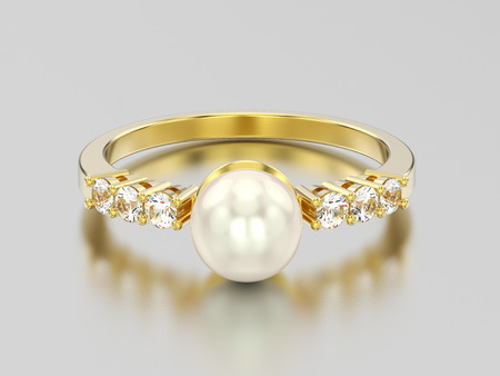 3D illustration yellow gold  diamond ring wth pearl on a grey background Stock Photo