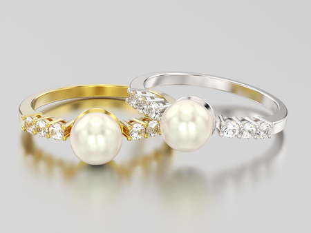 3D illustration two yellow and white gold or silver diamond rings wth pearl on a grey background Stock Photo