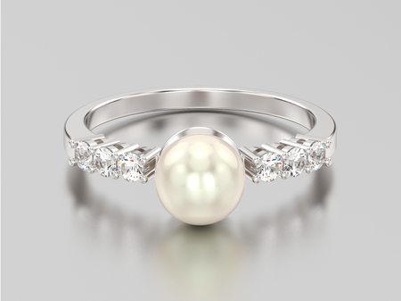 3D illustration white gold or silver diamond ring wth pearl on a grey background