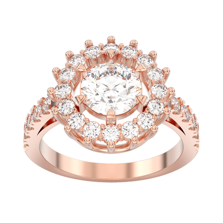 3D illustration isolated rose gold solitaire decorative diamond ring on a white background Stock Photo
