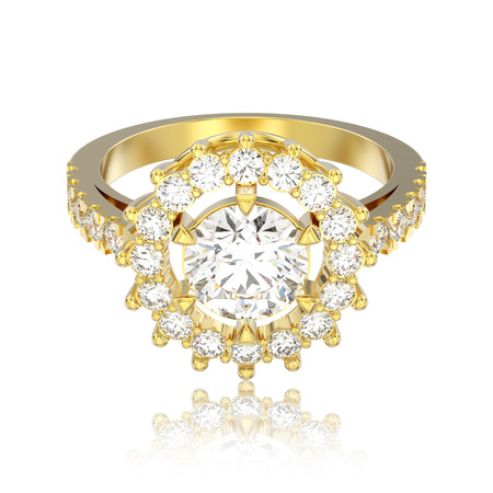 3D illustration isolated yellow gold solitaire decorative diamond ring with reflection on a white background