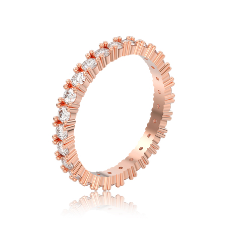 3D illustration isolated rose gold eternity band diamond ring with reflection on a white background Stock Photo