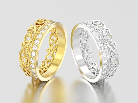 3D illustration two yellow and white gold or silver  decorative crown diadem diamond rings on a grey background