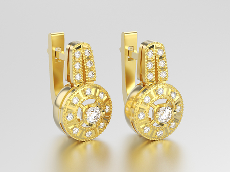 3D illustration yellow gold decorative diamond earrings with hinged lock on a grey background