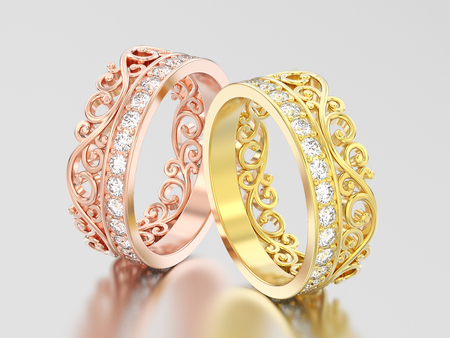 3D illustration two yellow and rose gold decorative crown diadem diamond rings on a grey background