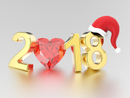 3D illustration new year 2018 gold numbers in the Christmas Santa Claus hat and a red diamond heart on a gray background Stock Photo