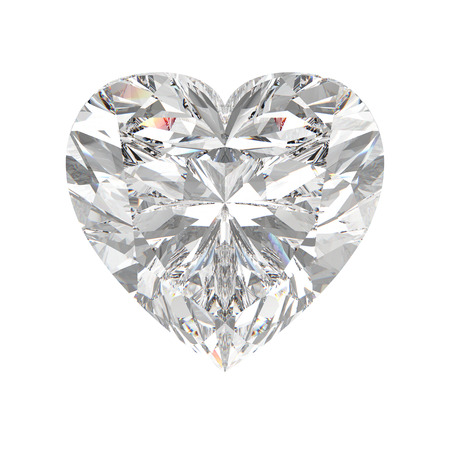 3D illustration isolated heart diamond stone on a white background