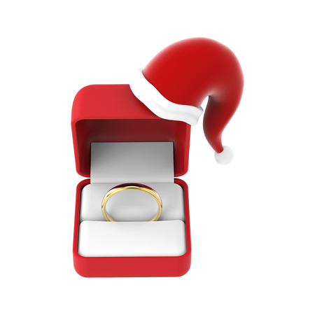 3D illustration isolated gold engagement ring in the red box in Christmas Santa Claus hat on a white background Stock Photo