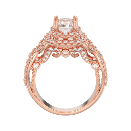 3D illustration isolated rose gold elegant solitaire decorative diamond ring on a white background