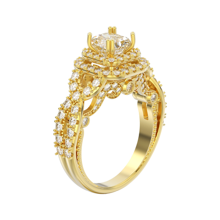 3D illustration isolated yellow gold elegant solitaire decorative diamond ring on a white background