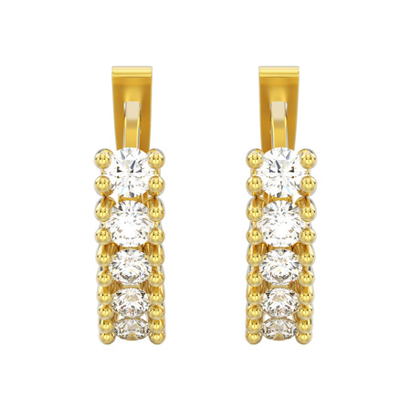 3D illustration isolated two yellow gold decorative diamond earrings with english lock on a white background