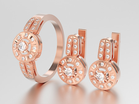 3D illustration set of rose gold decorative diamond earrings with hinged lock and decorative diamond ring on a grey background