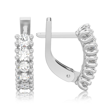 3D illustration isolated two white gold or silver decorative diamond earrings with english lock with reflection on a white background