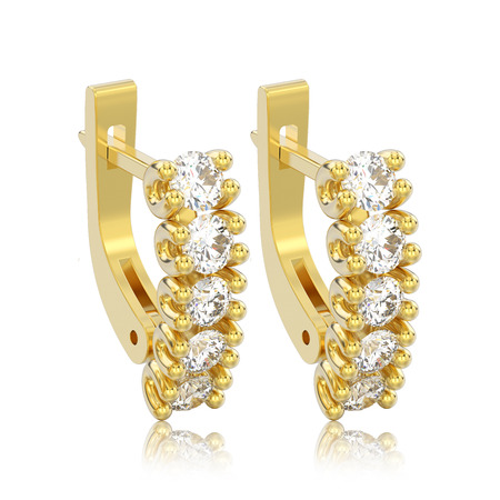3D illustration isolated two yellow gold decorative diamond earrings with english lock with reflection on a white background