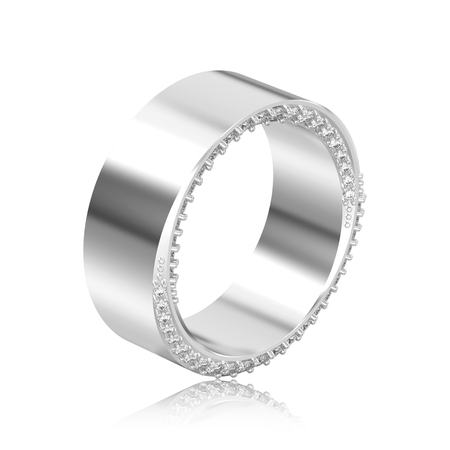 3D illustration isolated white gold or silver elegant illusion decorative diamond ring with reflection on a white background