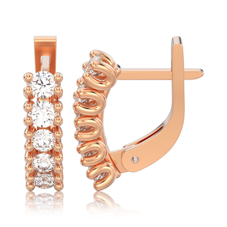 3D illustration isolated two rose gold decorative diamond earrings with english lock with reflection on a white background
