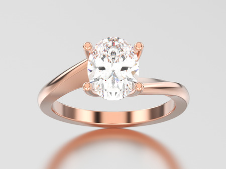 3D illustration rose gold engagement illusion twisted ring with diamond on a gray background