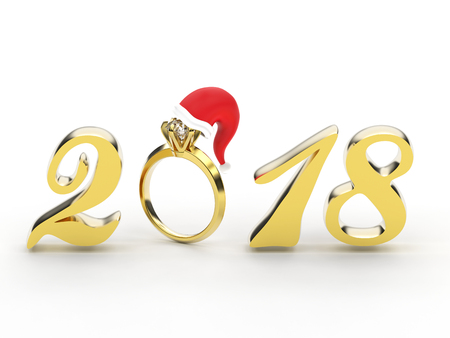 3D illustration new year 2018 gold numbers with a diamonds ring in the Christmas Santa Claus hat on a gray background