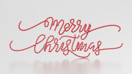 3d illustration merry christmas words from the red chain on a gray background stock illustration