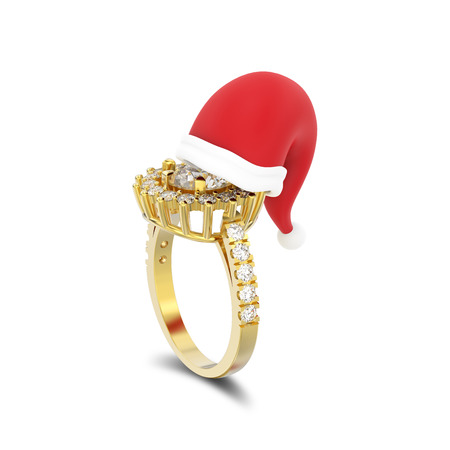 3D illustration isolated yellow gold solitaire decorative diamond ring in the Christmas Santa Claus hat with shadow on a white background  Stock Photo