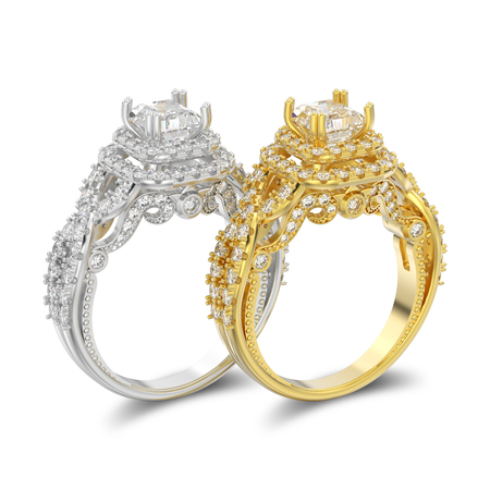 3D illustration two isolated  yellow and white gold or silver elegant solitaire decorative diamond rings with shadow on a white background