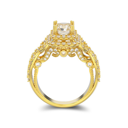3D illustration isolated yellow gold elegant solitaire decorative diamond ring with shadow on a white background