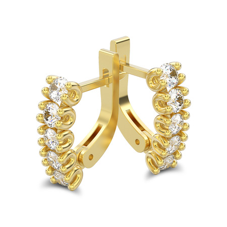 3D illustration isolated two yellow gold decorative diamond earrings with english lock with shadow on a white background Stock Photo