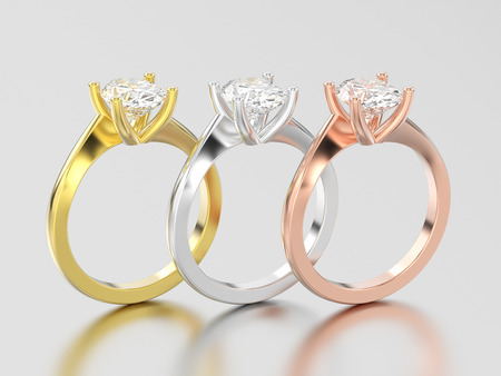 3D illustration three yellow, rose and white gold or silver  engagement illusion twisted rings with diamonds on a gray background