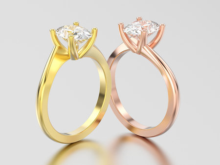 3D illustration two rose and yellow gold engagement illusion twisted rings with diamonds on a gray background