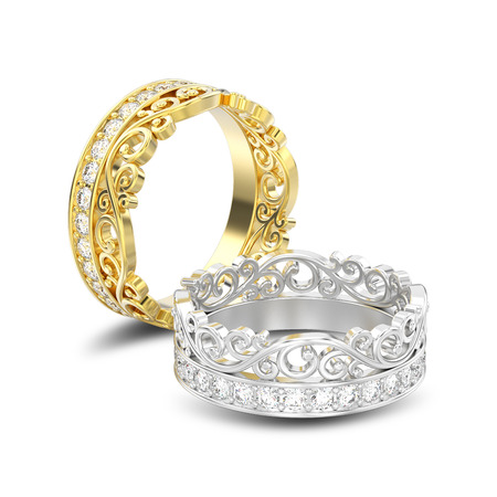 3D illustration isolated two yellow and white gold or silver decorative crown diadem diamond rings with shadow on a white background