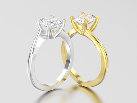 3D illustration two yellow and white gold or silver  engagement illusion twisted rings with diamonds on a gray background
