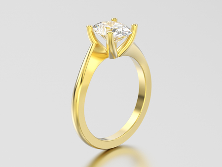 3D illustration yellow gold engagement illusion twisted ring with diamond on a gray background Stock Photo