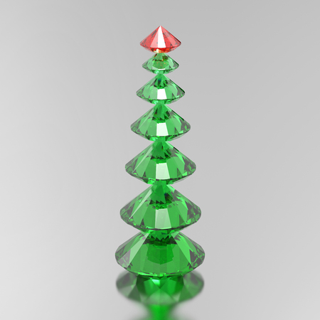 3D illustration green diamond christmas tree with a red star on a grey background