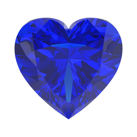 3D illustration isolated blue diamond heart stone on a white background Stock Photo