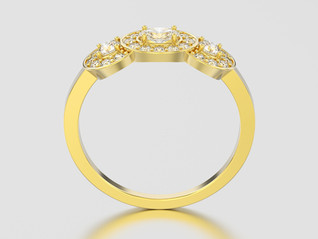3D illustration yellow gold three stone solitaire engagement ring on a gray background