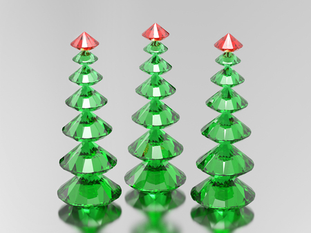 3D illustration three green diamond christmas trees with a red stars on a grey background
