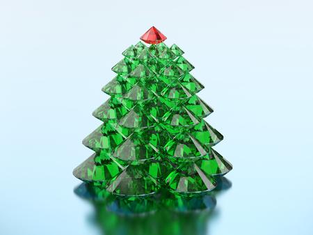 3D-illustratiegroep groene diamantkerstboom met een rode ster op een blauwe achtergrond Stockfoto